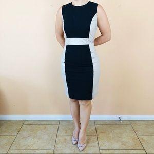 Calvin Klein Black dress with beige leather size 8